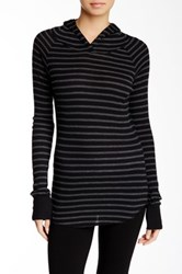 Solow Hooded Striped Raglan Thermal Knit Black
