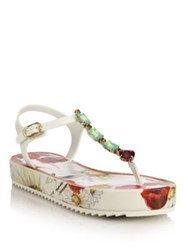 Dolce And Gabbana Poppy Jeweled Platform Thong Sandals Multi
