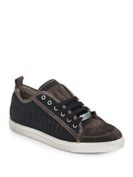 Galliano Logo Leather And Textile Lace Up Sneakers Grey