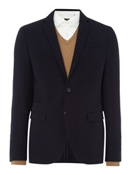 Selected Men's Homme Alex Overcheck Tweed Blazer Dark Blue