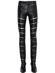 Saint Laurent 15Cm Skinny Lame And Nappa Leather Pants