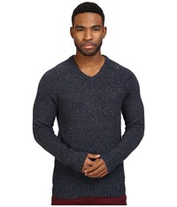 Original Penguin Saddle Raglan Donegal V Neck Sweater Dark Sapphire Men's Sweater Blue