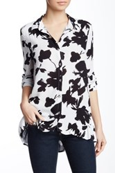 Harlowe And Graham Button Up Ruffle Hem Blouse Black