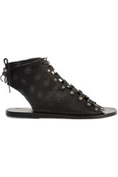Ancient Greek Sandals Mache Lace Up Perforated Leather Black