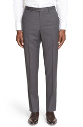 Men's Armani Collezioni Flat Front Solid Wool Trousers Grey