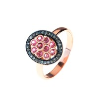 Latelita London Diamond Pink Tourmaline Oval Ring Black Rose Gold Pink