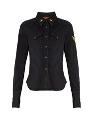 Rockins Embroidered Stretch Denim Shirt Black