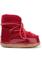 Inuikii Faux Fur Trimmed Shearling And Patent Leather Ankle Boots Red