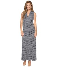 Vince Camuto Diamond Phrase Halter Maxi Dress Evening Navy Women's Dress Gray