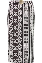 Just Cavalli Printed Jersey Midi Skirt Gray