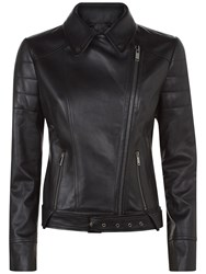 Jaeger Contrast Leather Biker Jacket Black