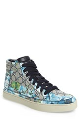 Gucci Men's 'Common' High Top Sneaker Blue Beige Fabric Leather