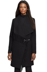 Women's Lauren Ralph Lauren Fringe Trim Long Drape Front Coat Black