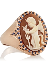 Amedeo Rose Gold Plated Carnelian Shell And Sapphire Devil Cameo Ring