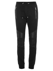 Balmain Biker Leather Panel Track Pants