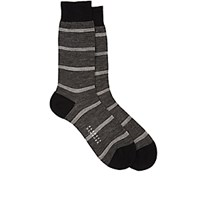 Barneys New York Men's Mixed Stripe Mid Calf Socks Black Blue Black Blue