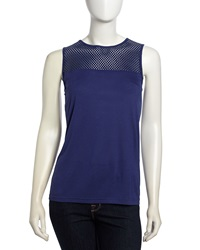 Neiman Marcus Leather Knit Tank Cobalt