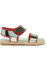 Marni Metallic Patent Leather Sandals Light Green