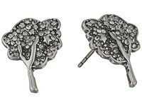 Marc Jacobs Charms Pave Tree Studs Earrings Black Diamond Antique Silver