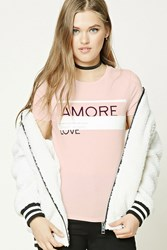 Forever 21 Amore Graphic Tee Pink Cream