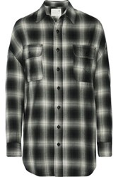 R 13 R13 Oversized Plaid Cotton Blend Shirt Black