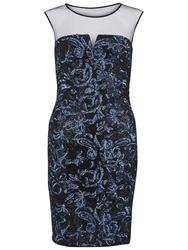 Gina Bacconi Round Neck Sequin Mesh Dress Blue