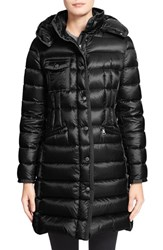 Women's Moncler 'Hermine' Grosgrain Trim Water Resistant Hooded Down Coat Black