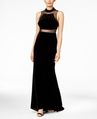 Betsy And Adam Velvet Illusion Gown Black