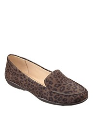 Easy Spirit Jeyden Animal Spot Suede Loafers Brown