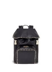 Valentino 'Rockstud' Flap Drawstring Leather Backpack Black