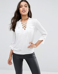 Lipsy Lace Up Front Blouse White