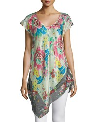Johnny Was Tropical Flower Short Sleeve Tunic Women's