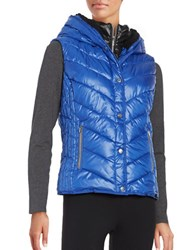 Marc New York Sherpa Lined Hooded Performance Puffer Vest Blue