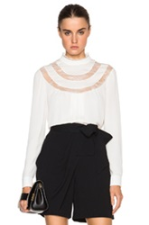 Valentino Lace Detail Collared Blouse White