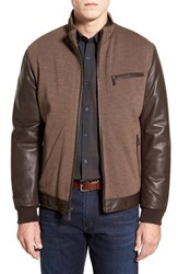Men's Bugatchi Leather Jacket With Woven Front Panel