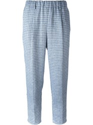 Forte Forte Elastic Waistband Checked Pants Blue