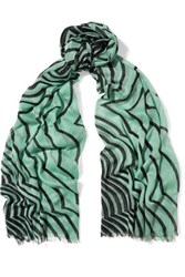 Marc By Marc Jacobs Radiowaves Printed Cotton Gauze Scarf Light Green