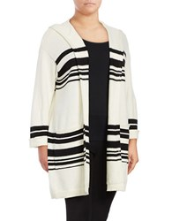 Vince Camuto Plus Striped Open Front Cardigan White