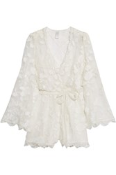 Zimmermann Wrap Effect Fil Coupe Silk Playsuit Ivory