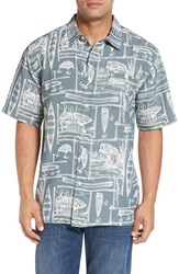 Quiksilver Men's Waterman Collection 'Power Lounge' Print Short Sleeve Sport Shirt