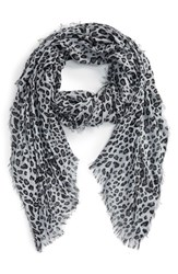 Women's Sole Society Leopard Print Scarf Grey