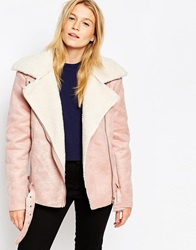 Glamorous Oversized Biker Coat With Borg Trim Pink