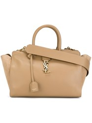 Saint Laurent Small 'Cabas Monogram' Tote Nude And Neutrals