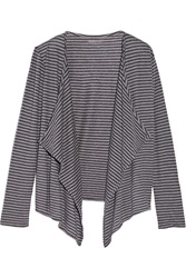 Majestic Striped Cotton And Cashmere Blend Cardigan