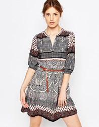 Yumi Mixed Border Print 3 4 Sleeve Dress With V Front Multi