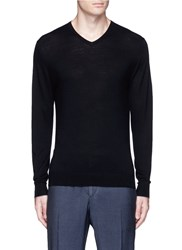 Threadsmith 'Newman' V Neck Ultrafine Merino Wool Sweater Black