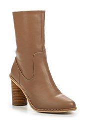 Lost Ink Gorzo Round Heel Mid Height Boots Nude