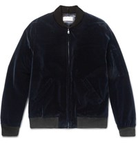 A.P.C. Louis W Cotton Velvet Bomber Jacket Midnight Blue