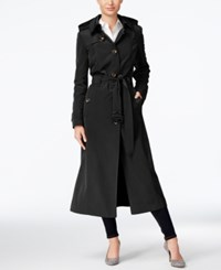 London Fog Hooded Maxi Trench Coat Black