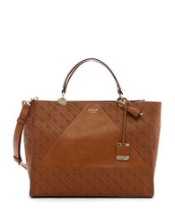 Guess Cammie Large Logo Debossed Satchel Cognac